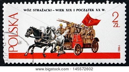 POLAND - CIRCA 1980: a stamp printed in Poland shows Horse-drawn Fire Engine circa 1980