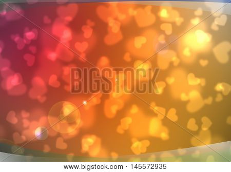 Abstract heart background. Magic light illustration background with sweet heart design.