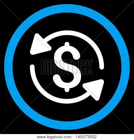 Money Turnover vector bicolor rounded icon. Image style is a flat icon symbol inside a circle, blue and white colors, black background.