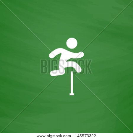 Steeplechase Simple vector button. Imitation draw icon with white chalk on blackboard. Flat Pictogram and School board background. Illustration symbol