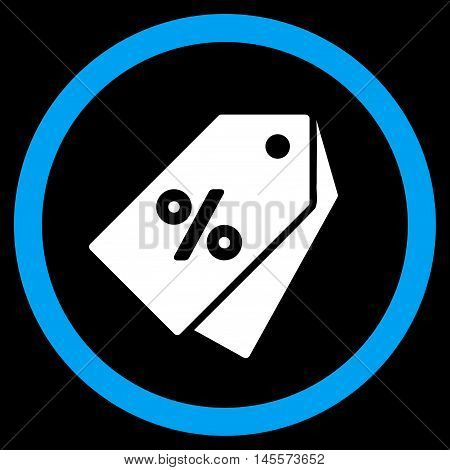 Percent Discount Tags vector bicolor rounded icon. Image style is a flat icon symbol inside a circle, blue and white colors, black background.