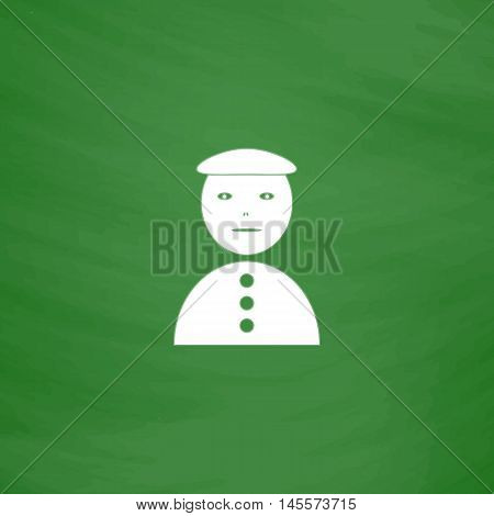 clown jester Simple vector button. Imitation draw icon with white chalk on blackboard. Flat Pictogram and School board background. Illustration symbol
