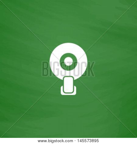 web pictogram camera Simple vector button. Imitation draw icon with white chalk on blackboard. Flat Pictogram and School board background. Illustration symbol