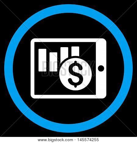 Sales Chart on Pda vector bicolor rounded icon. Image style is a flat icon symbol inside a circle, blue and white colors, black background.