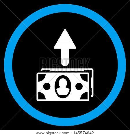 Spend Banknotes vector bicolor rounded icon. Image style is a flat icon symbol inside a circle, blue and white colors, black background.