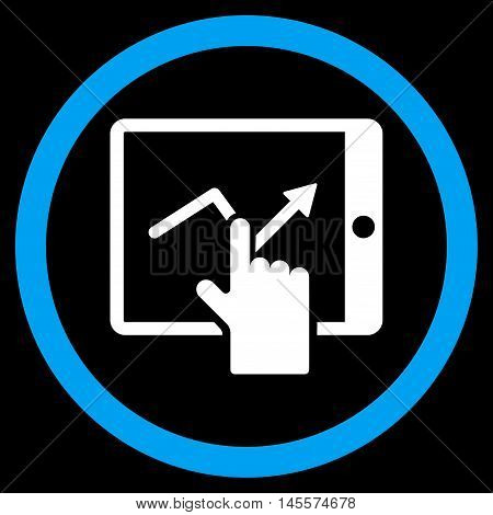 Tap Trend on Pda vector bicolor rounded icon. Image style is a flat icon symbol inside a circle, blue and white colors, black background.