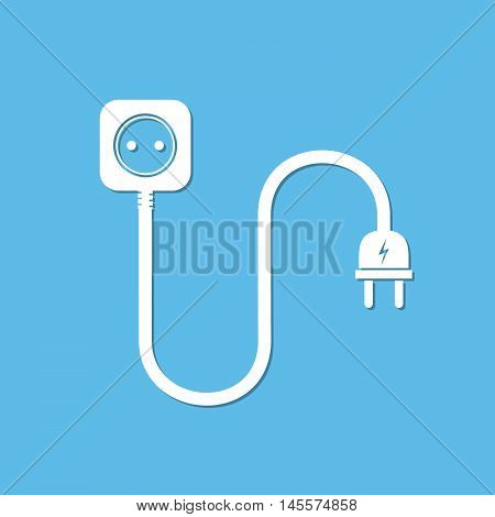 Extension cord - vector illustration. Icon of power extension cord. Simple electrical socket on a white background.