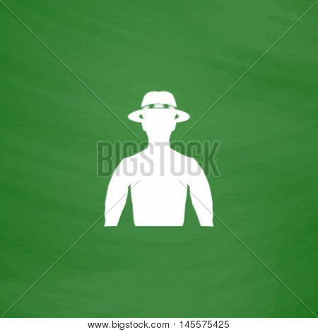 macho Simple vector button. Imitation draw icon with white chalk on blackboard. Flat Pictogram and School board background. Illustration symbol