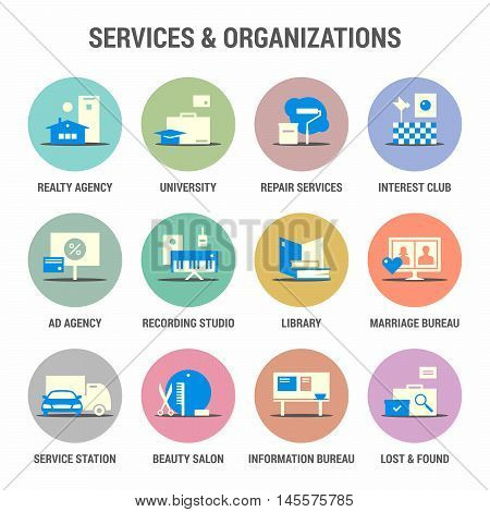Icons set of services and organizations. Flat. Colorized.