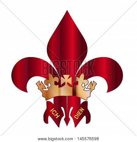 The traditional Fleur de Lis or three feathers symbol or Prince ofWales's feathers