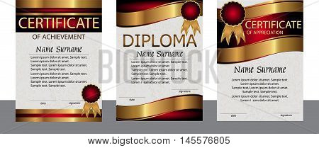 A set of templates. Diploma, diploma, achievement. Gold elegant. The winner of the award. Reward. Winning the contest. The text on a separate layer. Vector illustration.