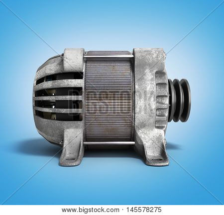 Electric Motor 3D Render Isolated On The Gradient