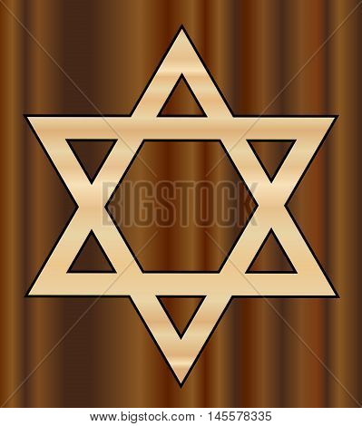 A depiction of the Star of David in wood shades with a darker wood background