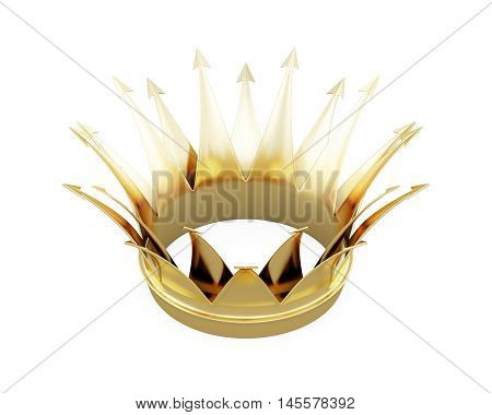 Golden Crown Isolated On White Background. 3D Rendering
