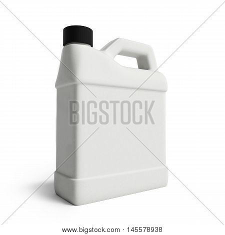 White Plastic Canister For Motor Oil Isolated On White Background
