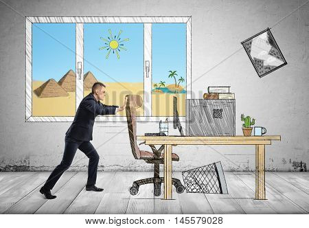 Businessman at his workplace with pyramids and sands behind the window pushing a chair. Annual leave. Leave of absence. Holidays and vacation.