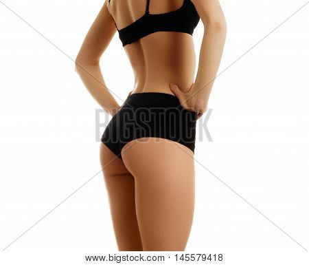 Beautiful Slim Female Body. Voluptuous Woman's Shape With Clean