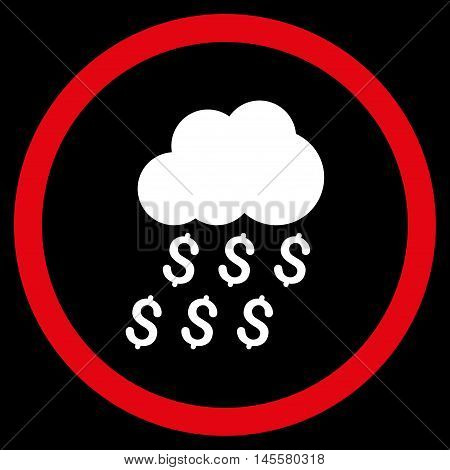 Money Rain vector bicolor rounded icon. Image style is a flat icon symbol inside a circle, red and white colors, black background.