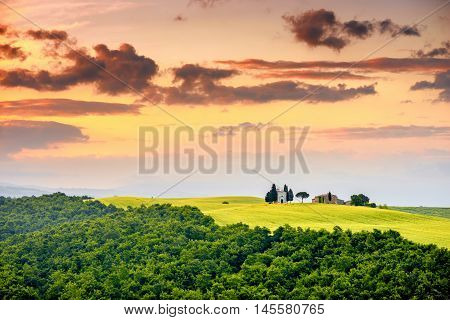 Beautiful tuscan landscape view in Val dOrcia region near Pienza town on the morning in Italy