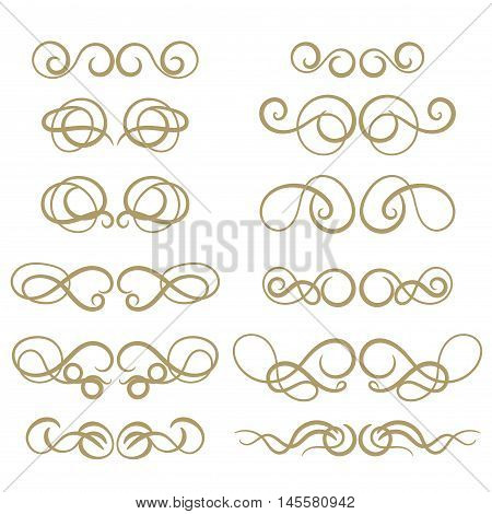 Abstract gold curly design element set isolated on white background. Dividers in retro style. Hand drawn swirls. Vector illustration.
