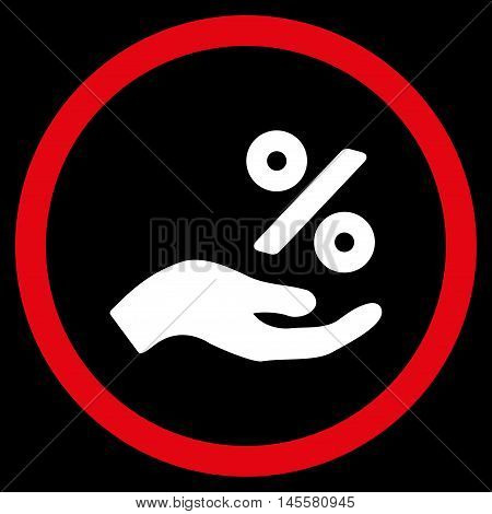 Percent Offer Hand vector bicolor rounded icon. Image style is a flat icon symbol inside a circle, red and white colors, black background.