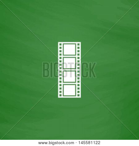 Film strip Simple vector button. Imitation draw icon with white chalk on blackboard. Flat Pictogram and School board background. Illustration symbol