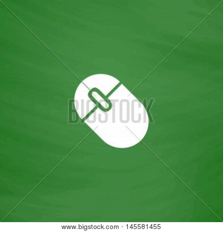 PC mouse Simple vector button. Imitation draw icon with white chalk on blackboard. Flat Pictogram and School board background. Illustration symbol