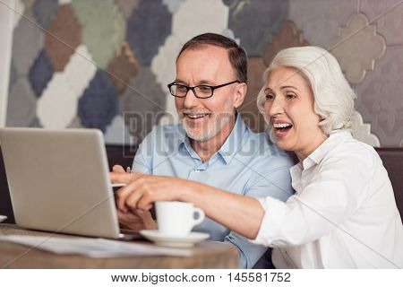 Full of emotions. Overjoyed delighted smiling senior couple using laptop and expressing gladness while sitting at the table