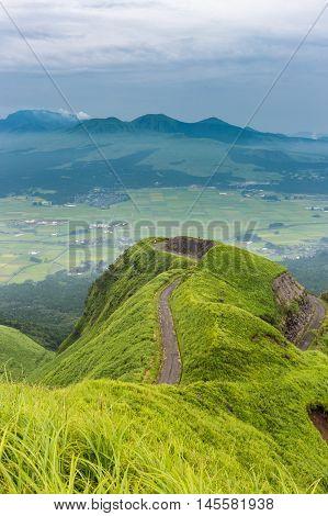 Mountain road around Mt.Aso in Kumamoto Japan.