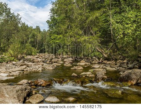 Republic of Bashkortostan Russia. The mountain river in the Ural mountains.