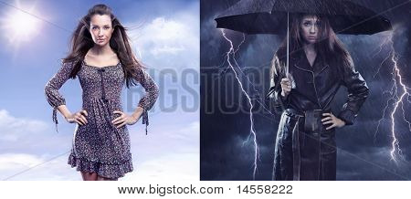 Conceptual photo of a spring woman versus sad autumn lady