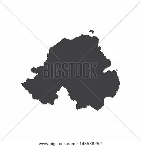 Nothern Ireland map silhouette illustration on the white background. Vector illustration