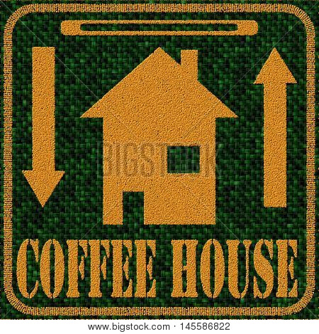 Dark green and brown decorative illustration with text Coffee House - coffee beans 3D pattern