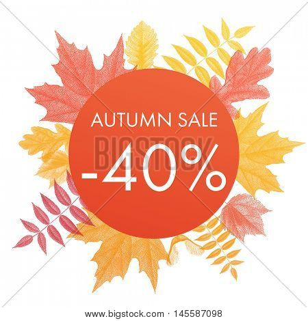 Autumn sale 40% off circle banner. Vector discount offer with autumnal red maple, orange oak, yellow rowan foliage on white background.