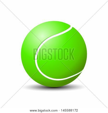 Vector illustration of logo for the theme of a flying tennis ball.Isolated drawing consists of sports equipment round route movement striking on a black background.The icon for the mascot match team