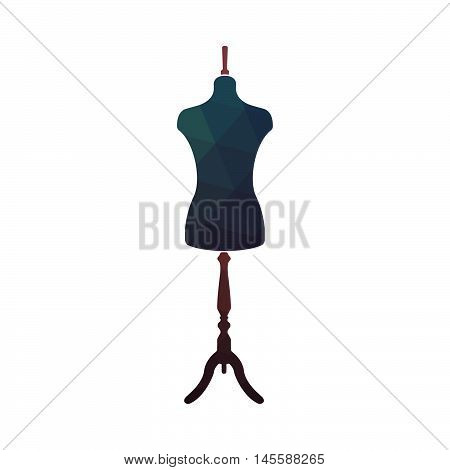 Fashion stand, female torso mannequin. Tailor dummy. Design sewing logo. Vector illustration.