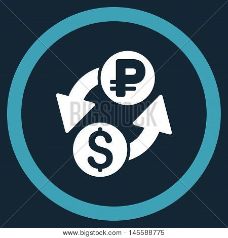 Dollar Rouble Exchange vector bicolor rounded icon. Image style is a flat icon symbol inside a circle, blue and white colors, dark blue background.