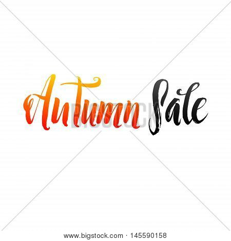 Autumn Sale Hand lettering Design Template. Typography Vector Background. Handmade calligraphy. Easy paste to any background