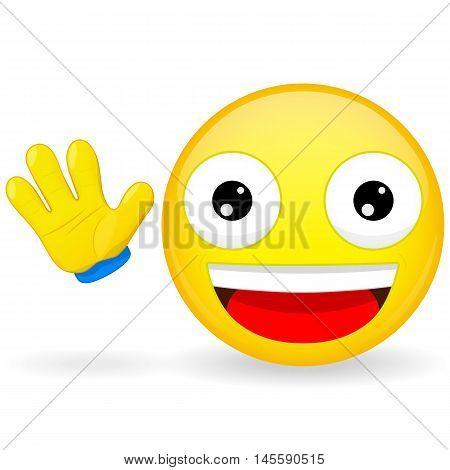 Hello emoticon. Emoticon waves his hand. Joyful emoticon. Pleased emoji. Happy emotion. Vector illustration smile icon.