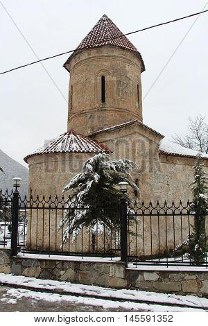 Old Albanian church in Kish Azerbaijan. Winter