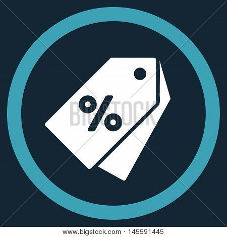 Percent Discount Tags vector bicolor rounded icon. Image style is a flat icon symbol inside a circle, blue and white colors, dark blue background.