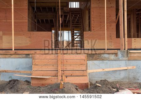 Front porch and doorway of a house under construction