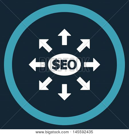 Seo Marketing vector bicolor rounded icon. Image style is a flat icon symbol inside a circle, blue and white colors, dark blue background.
