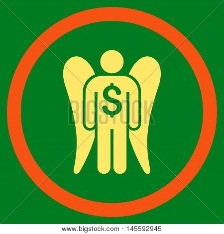 Angel Investor vector bicolor rounded icon. Image style is a flat icon symbol inside a circle, orange and yellow colors, green background.