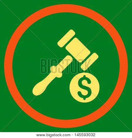 Auction vector bicolor rounded icon. Image style is a flat icon symbol inside a circle, orange and yellow colors, green background.
