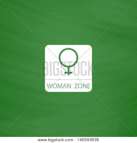 women gender Simple vector button. Imitation draw icon with white chalk on blackboard. Flat Pictogram and School board background. Illustration symbol