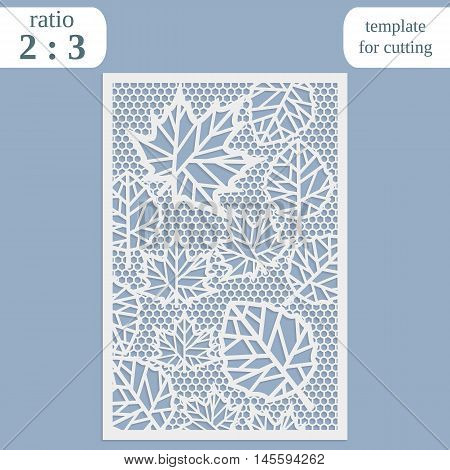 Paper openwork greeting card template for cutting maple leaves lace invitation lasercut metal panel wood carving vector illustration