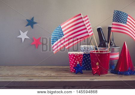 USA independence day celebration. Table arrangement for party