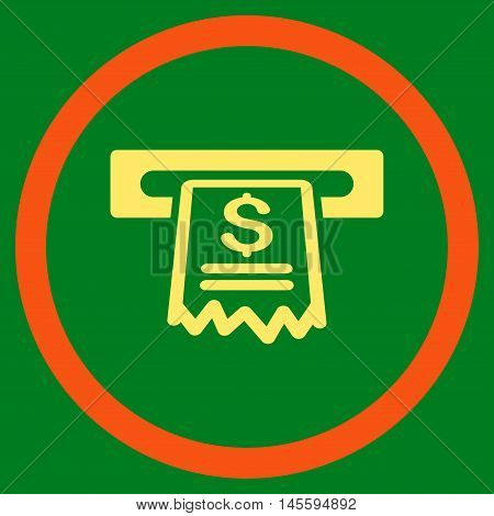 Cashier Receipt vector bicolor rounded icon. Image style is a flat icon symbol inside a circle, orange and yellow colors, green background.