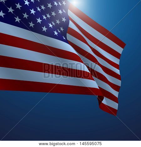 American flag vector illustration. Symbol of freedom or democracy